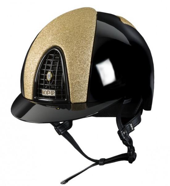 Kep Italia Reithelm Schwarz polierter Cromo mit Vorder- und Rückseite Star Gold Glitter, schwarz pol