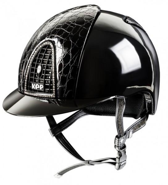 Kep Italia Reithelm Schwarz Polish Cromo mit Vorder- und Rückseite aus schwarzem Cocco Style Leather