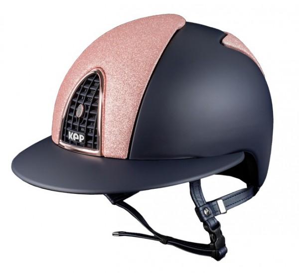Kep Italia Reithelm Blauer Textil Cromo mit Vorder- und Rückseite Star Pink Glitter Panels