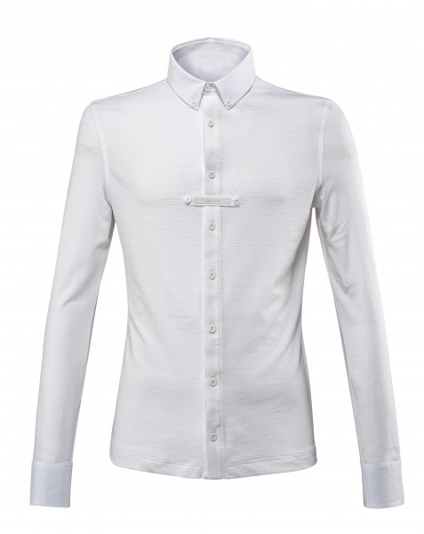 Equiline Camicia Turniershirt Langarm Männer Weiß